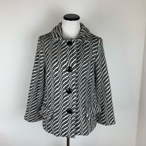 Milly Printed Wool Coat Black & White Size 4